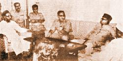 The then Ameer of East Pakistan Jamaat-e-Islami Ghulam Azam and Nurul Amin at a meeting with the ?butcher of Bengal? General Tikka Khan of Pakistan occupation army in Dhaka to extend support to army actions against the War of Liberation in 1971.    - File Photo