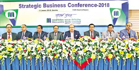Mercantile Bank Chairman AKM Shaheed Reza seen with others as the chief guest after inaugurating the Strategic Business Conference-2018 organised by the bank at FARS Hotel & Resorts in the capital on Saturday.photo: Bank