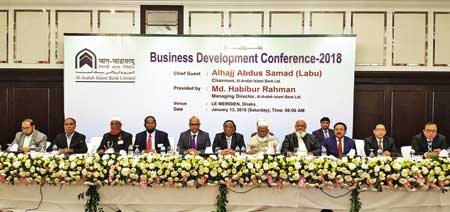 AIBL Chairman Abdus Samad Labu delivering his inaugural speech as the chief guest at a Business Development Conference-2018 organised by the bank at Hotel Le Meridian Dhaka on Saturday.photo: Bank