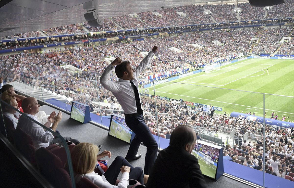 French president Emmanuel Macron celebrating at the Luzhniki Stadium