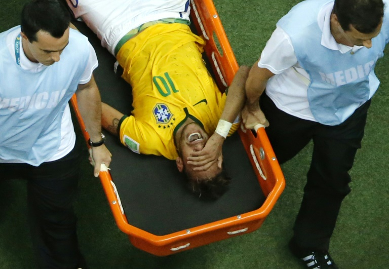Neymar left the 2014 World Cup quarter-final between Brazil and Colombia on a stretcher and was ruled out of the rest of the tournament with a back injury