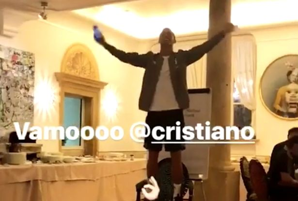 Cristiano Ronaldo stands up on a chair and belts out his initiation song ahead of his Juventus debut.