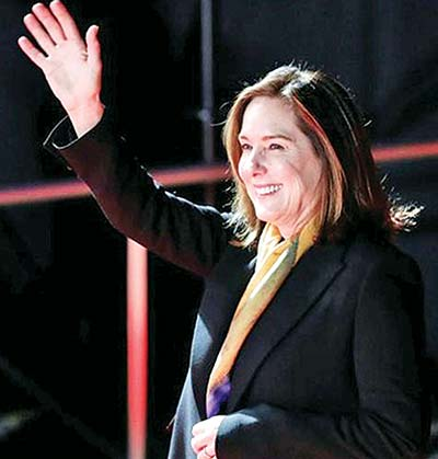 Producer Kathleen Kennedy attends a promotional event of the movie