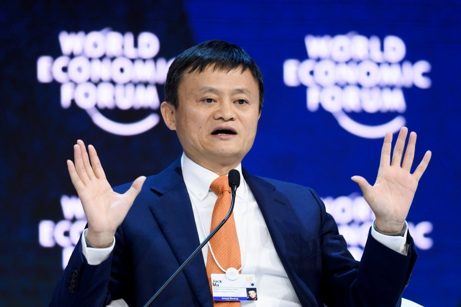 In this file photo taken on January 24, 2018, Alibaba Executive Chairman Jack Ma speaks during the annual World Economic Forum (WEF) on in Davos, eastern Switzerland. - Alibaba co-founder and chief Jack Ma announced on September 7, 2018 he will leave from the Chinese e-commerce giant on Monday to devote his time to philanthropy focused on education. AFP Photo