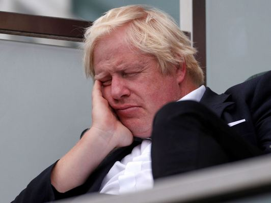 Boris Johnson appeared to fall sleep at one point