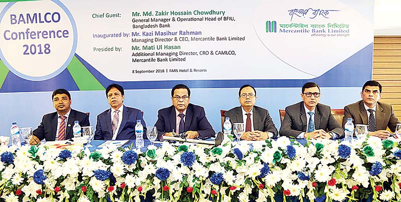BB General Manager and Operational Head of BFIU Md Zakir Hossain Chowdhury seen, among others, as the chief guest at the BAMLCO Conference-2018 of Mercantile Bank held at FARS Hotel and Resorts in the capital on Saturday.photo: Bank