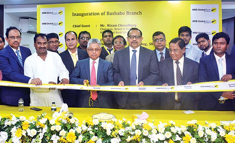 NRB Global Bank Chairman Nizam Chowdhury inaugurating a new branch of the bank as the chief guest at Basabo in the capital on Monday.	photo: Bank