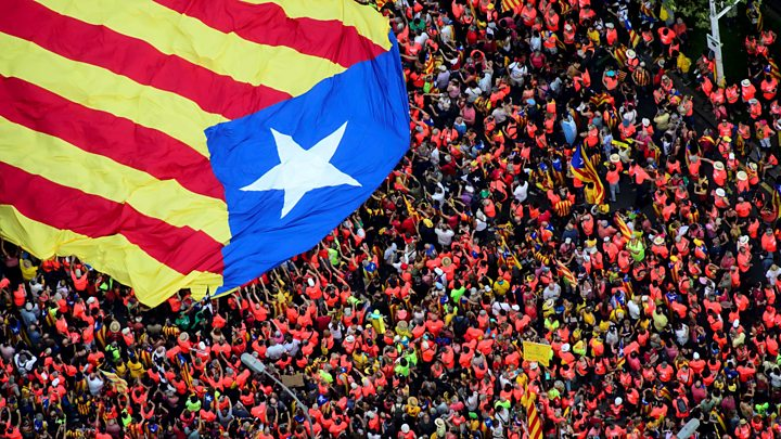 About a million people have taken to the streets of Barcelona to mark Catalonia's