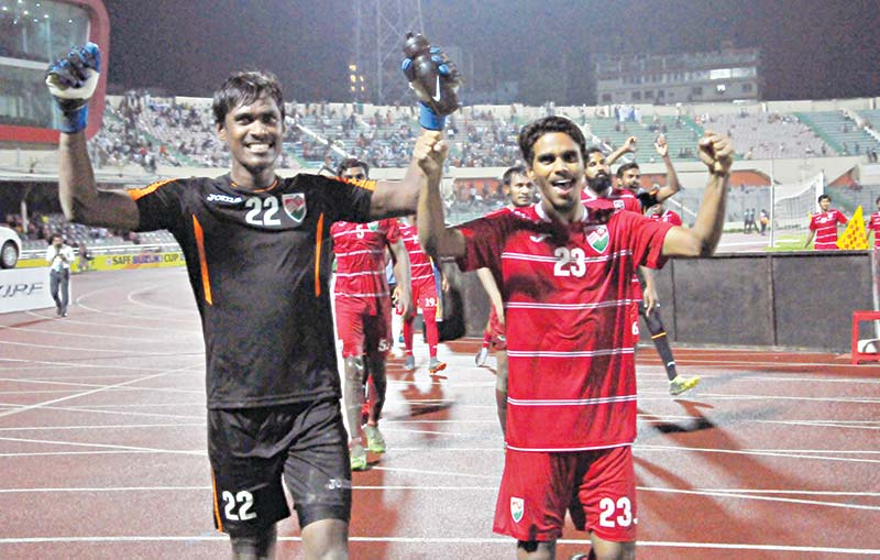 The Maldives boys celebrating after confirming the final of the SAFF Suzuki Cup defeating Nepal at the Bangabandhu National Stadium in Dhaka on Wednesday.