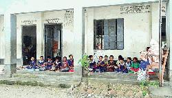 Academic activities at Naogaon pry school hampers due to risky school house