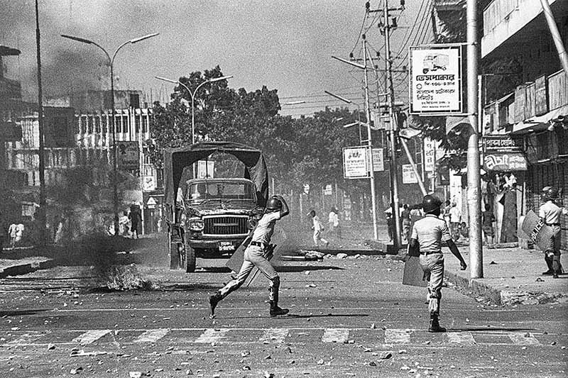 Police in action against protesters during the Ershad regime