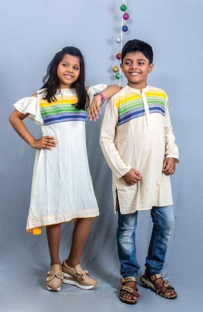 Adorn your junior with puja and autumn colour!