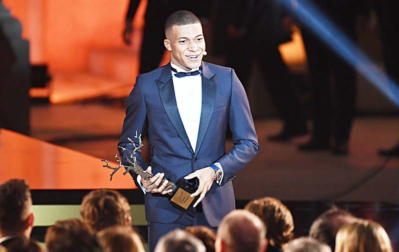 Mbappe wins best young player prize at Ballon d'Or ceremony