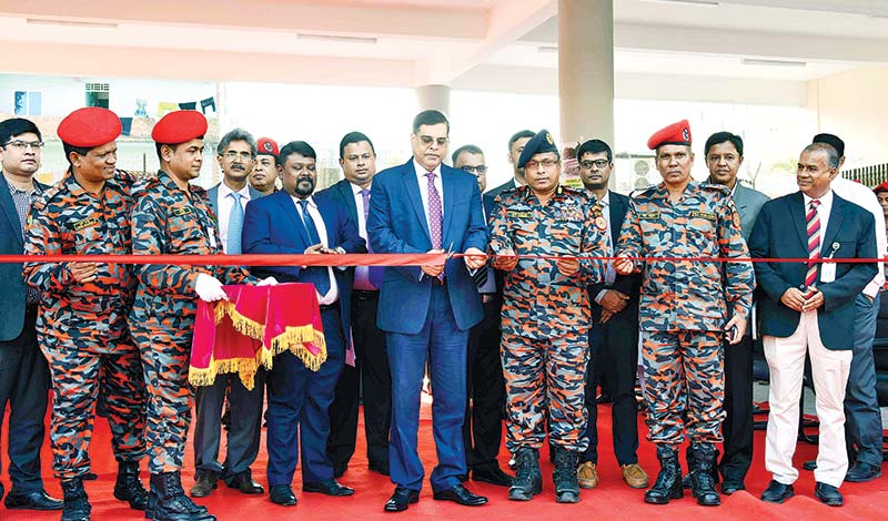 BEPZA Executive Chairman Major General Mohd Habibur Rahman Khan inaugurating a new Fire Service & Civil Defence Station as the chief guest at Karnaphuli EPZ in Chattogram on Monday.