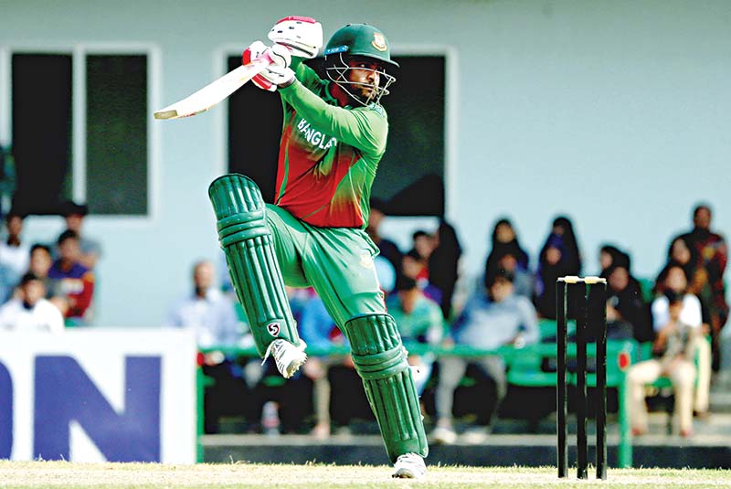 Tamim Iqbal playing a shot during the warm-up match against West Indies at the BKSP ground-3 on Thursday. 	photo: BCB