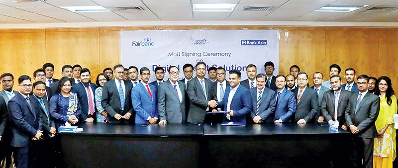 Bank Asia  and Fairbanc Ltd  signing a MoU on digital credit solution