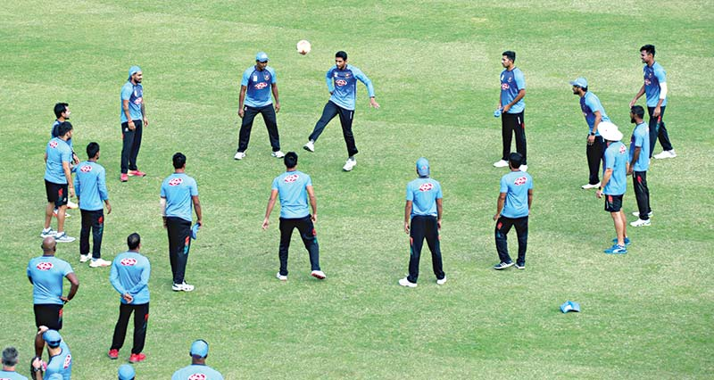 Bangladesh National Cricket Team in a practice session before the one-day series against West Indies on Saturday. 	photo: UNB