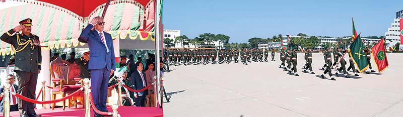 President Abdul Hamid taking salute at the President Parade 2018 of 76th BMA Long Course organised by Bangladesh Military Academy at Bhatiari in Chattagram on Saturday.photo : pid