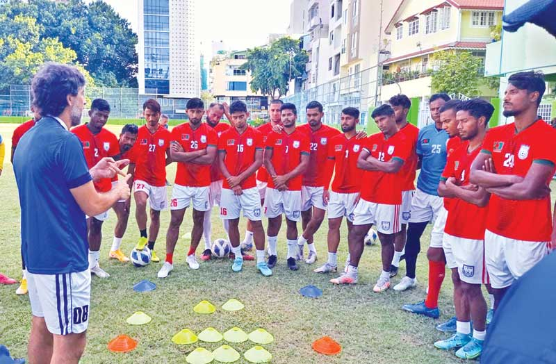 Bangladesh national football team busy in practice on Tuesday in Male, Maldives.photo: BFF