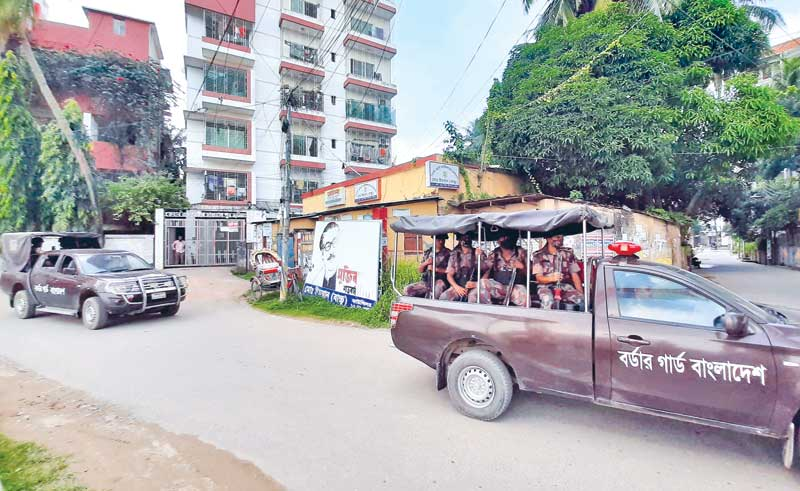Border Guard Bangladesh patrol a street of Cumilla city on Thursday as part of the stringent measures taken to ensure security at Puja Mandaps and maintain peace in the area.  PHOTO: OBSERVER