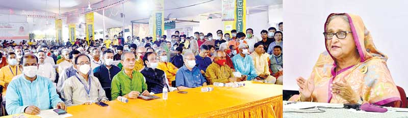 Prime Minister Sheikh Hasina virtually addresses the audience at Dhakeshwari National Temple in the capital from her official residence Ganabhaban on Thursday.PHOTO: PMO